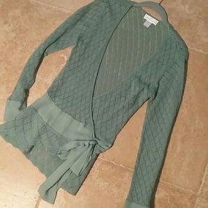 Seaglass herringbone lambswool sweater jacket